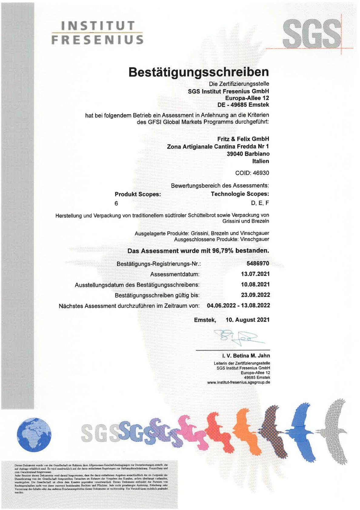 institut fresenius zertifikat 2021